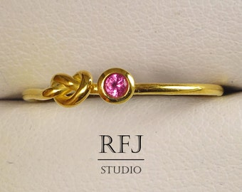 Yellow Gold Plated Knot Lab Ruby Ring, Pink CZ 2 mm 24K Gold Plated Silver Friendship Ring Pink Ruby Love Promise Ring, Tiny Ruby Gold Ring