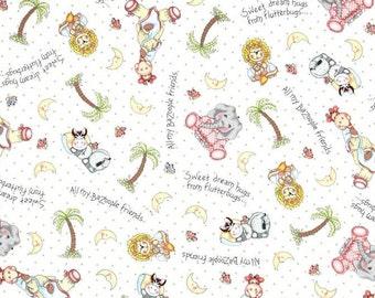 "Jungle Babies, Jungle Animals Fabric: Bazooples Fabric - Bazooples Sweet Dreams animals toss  100% cotton Fabric by Yard 36""x43""  (D68)"