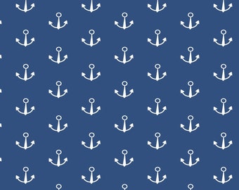 """Anchor Fabric: Seawater Friends - Anchors on Navy Blue - 100% cotton 43""""  fabric by the yard 36""""x43"""" (SC529)"""