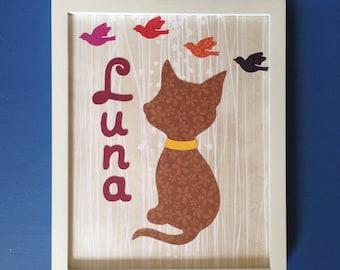 Pet name, cat name wall art, nursery decor, wall art, home decor, kids name, room decor, Luna, baby name, Unframed
