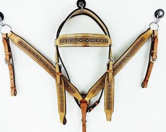 Custom Bling Handmade Leather Headstall Western Horse Trail Bridle Breast Collar