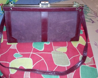 Bag old bordeaux year stock 1979! imitation leather and suede