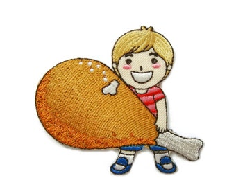 Boy with Chicken Drumstick Kid Patch Embroidered Applique Iron on Patch 7.7 cm. x 6.8 cm.