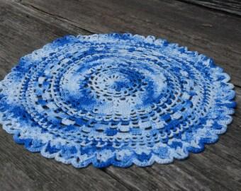 Vintage Crochet Blue Doily