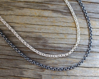 Heavy sterling silver cable chain sold by foot.  Oxidized silver chain or bright silver chain - your choice.