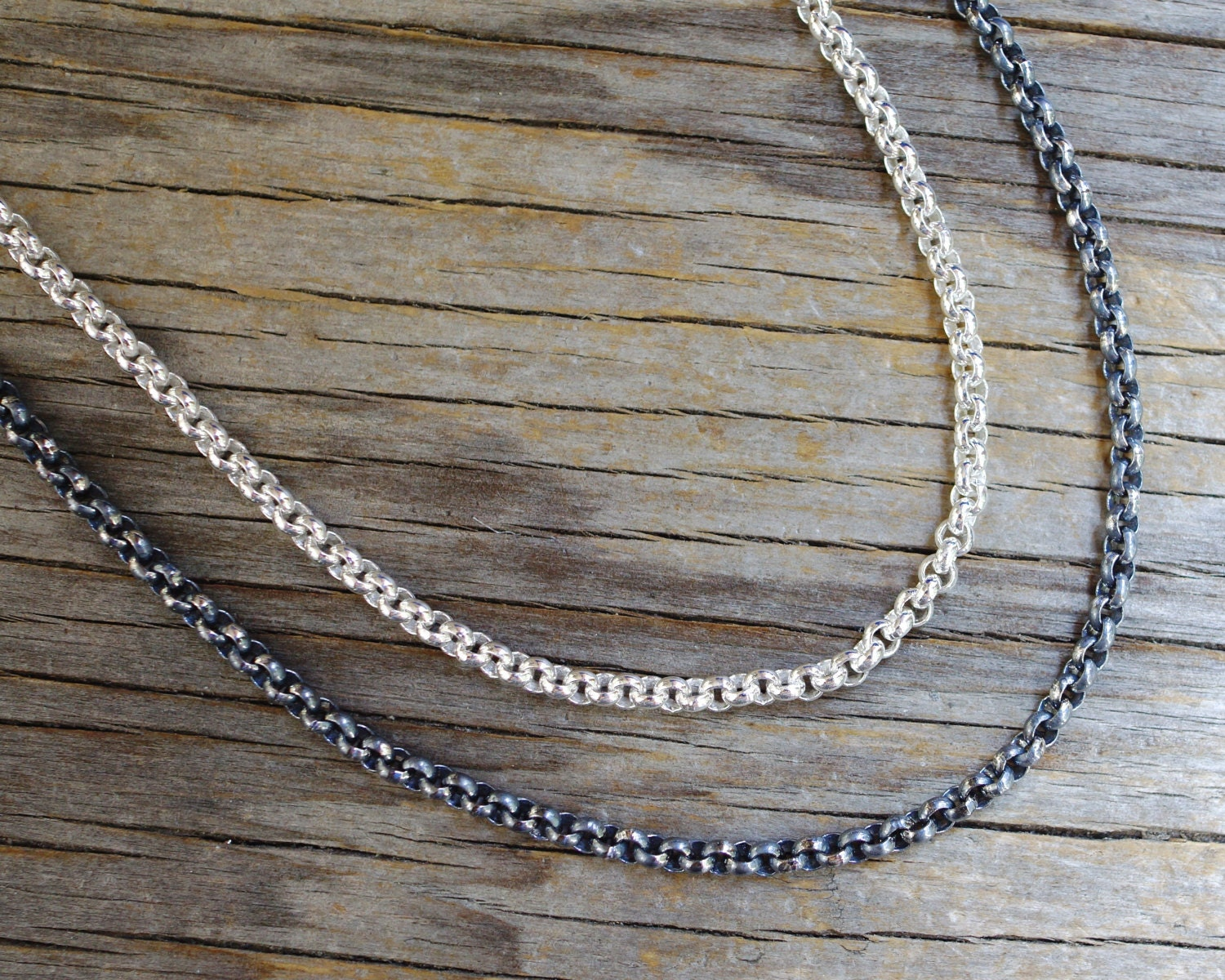 Heavy Sterling Silver Cable Chain Sold By Foot Oxidized