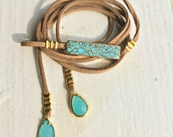 Brown And Turquoise Choker