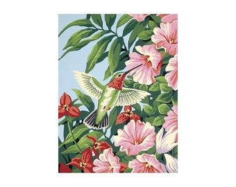 "Paint By Number Kit 9""X12""-Hummingbird & Fuchsias"