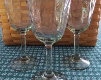 Handblown Mexican Wine Glasses - Green Rim 8 in Wine Water glasses (set of 3)