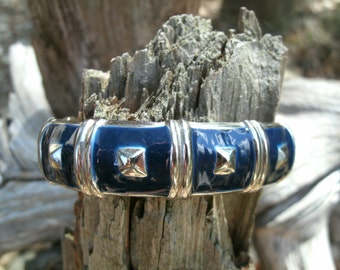 Silver and Navy Blue Bangle Bracelet Vintage Gift for Her