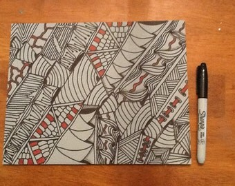 Black, white, and red Zentangle inspired art