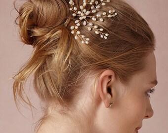 Handmade Boho Chic Laurel Pearl Gold Feminine Bridal Pin