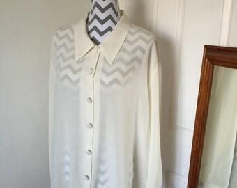 1980s Cream Vintage Oversized Button Down Blouse Shirt Size 24