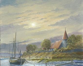 Piddinghoe with river barge - calm oil landscape original