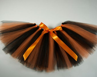 Halloween Orange and Black Tutu with Bow  - Girl/Baby Size NB, 3m, 6m, 1T, 2T, 3T, 4, 5, 6, 7, 8, 9, 10, 11, 12