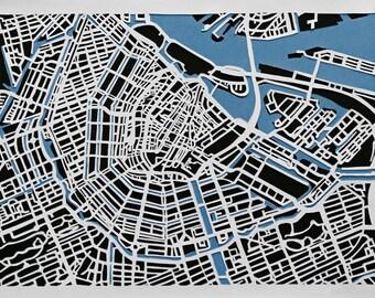 City of Amsterdam - Handmade Papercut Map A4