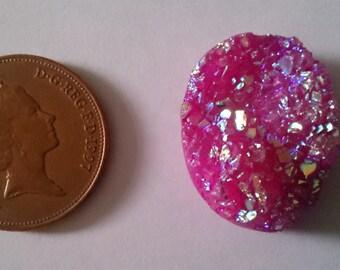 Natural Pink Titanium Druzy Crystal Quartz Oval 28 x 21mm 42.20 carats