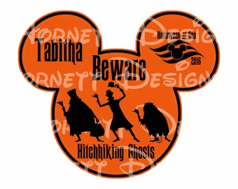 Printable Customized Disney cruise magnet - Hitchhiking Ghosts Halloween at Sea