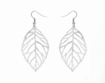 Silver Drop Leaf Earrings