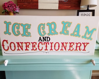 Ice Cream and Confectionery Sign, Ice Cream Shop, Candy Shop