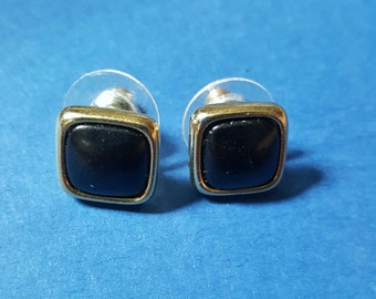 Square Black Stud Earring with Bronze Border, Vintage