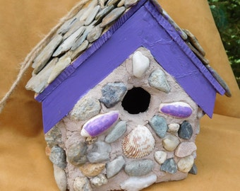 Purple Plum Stone Birdhouse