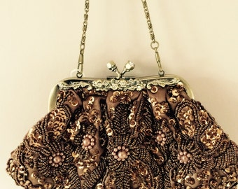 vintage look brown clutch wedding evening bag