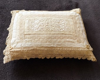 Antique Lace and Button Accent Pillow