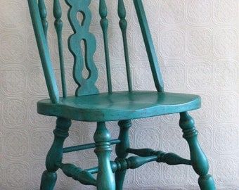 Wood Turquoise Chair