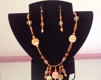 Handmade glass beaded necklace and earing set