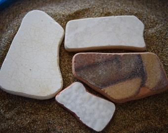 Set of 4 greek mosaic beach pottery pieces, pottery for craft, pottery for collectors