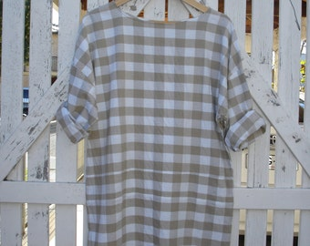 Checked tan and white cotton dress