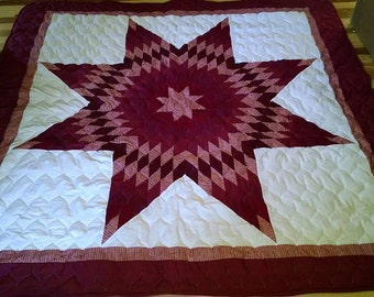 Queen Size Cotton Star Quilt Extra Thick Batting