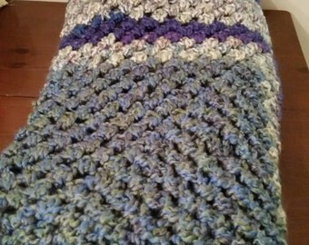 Cream, Purple, & Blue Handmade Blanket