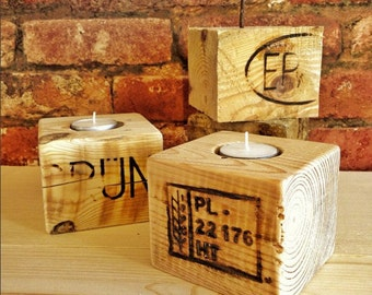 rustic reclaimed wood tea light candle holder