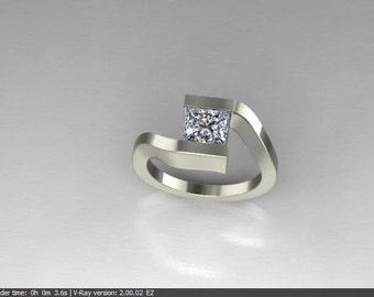 Modern Design engagment with Square Diamond
