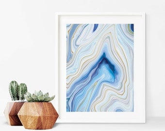 Abstract Blue Agate Marble Art Print - Instant Digital Download