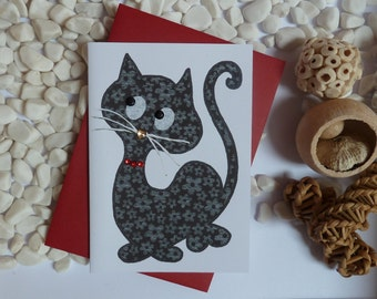 Black Cat Greetings Card, Lucky Cat card, Cat illustration, Card for cat lovers, A6, gems