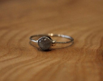92.5% Sterling Silver, petite ring with subtle decoration around the labradorite/turquoise stone.