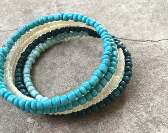 Teal, Blue and White Beaded Wrapping Bracelet