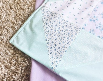 Pastel Quilted Patchwork Baby Blanket
