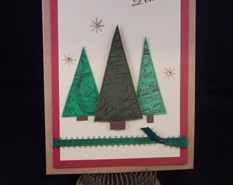 Hand Stamped – Made Christmas Card – Peace Christmas Trees