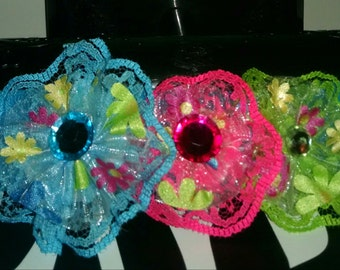 Neon colored lace flower elastic head band
