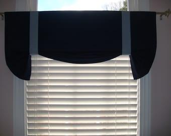 Boys Versatile Navy Canvas Room Tie up Valance, Checked  Classic Bedroom, Window Treatment