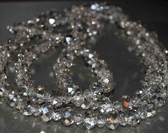 """Long Smokey Gray Crystal Necklace 42"""" with lobster clasp"""