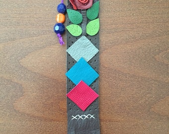 Leather Flower Bookmark