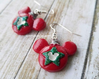 Disney Mickey Mouse Christmas Ornament Earrings