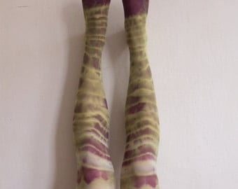 Tie-dyed green & purple tights / MEADOW