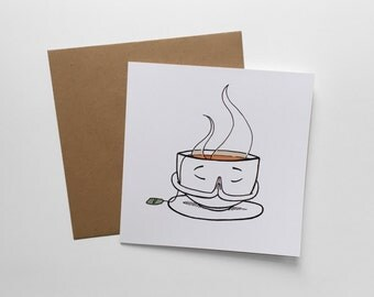Namasthee card including envelope//Namaste//Teacup//funny card//get well card//so on map