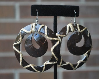 Large Round, hoop Earrings, with round insert